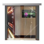 "2 Leaf European Sliding Glass Barn Doors, 76""x84"""