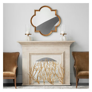 Golden Branches Fireplace Screen Iron Twig Metal Decorative Firescreen Contemporary Fireplace Screens By My Swanky Home