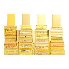 Decorative Books, Midcentury Yellow Book Wall, Set of 100