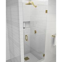 "78""x24"" Frameless Hinged Shower Door, Door Only Style, Satin Brass"