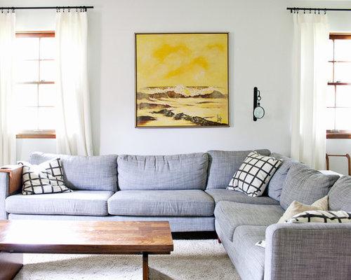 Custom Karlstad Corner Sofa Slipcovers With A Long Skirt In Premium Linen  Fabric