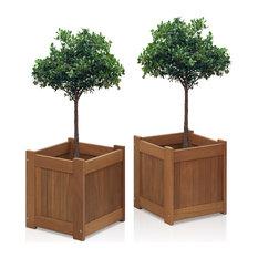 Tioman Hardwood Flower Boxes, Teak Oil, Pack of 2