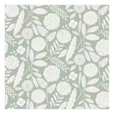 Blooms Wallpaper, Sage, Roll