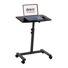comfort products onespace adjustable mobile computer desk dual surface dark walnut office