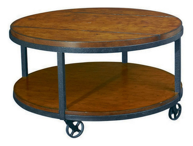 Hammary Baja Round Cocktail Table with Casters Traditional