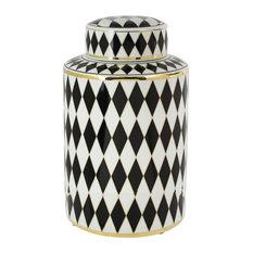 "Sagebrook Home Black/White/Gold Ceramic Jar 11.75"""