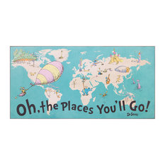 40x20 Dr. Seuss Colorful Characters Oh The Places You'll Go World Map Wood Wall