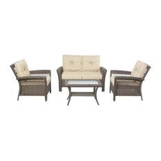 alfresco home alfresco home isabella 4piece wicker deep seating patio sofa set