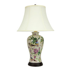 "29"" Floral White Porcelain Lamp"