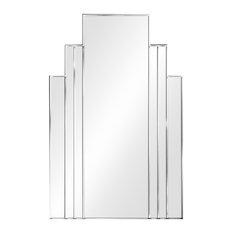 Brooklyn Original Handcrafted Art Deco Wall Mirror, Silver, 110x72 Cm