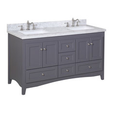 "Abbey 60"" Bath Vanity, Base: Charcoal Gray, Top: Carrara Marble, Double Vanity"