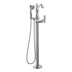 Delta Chrome Lever Handle Floor Mount Tub Filler Faucet, Spray/Valve D1053V
