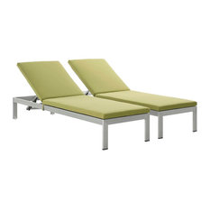 Shore Chaise with Cushions Outdoor Patio Aluminum, Set of 2
