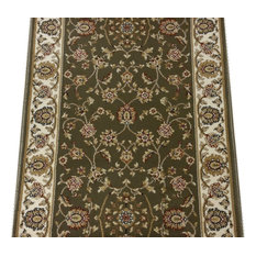 "Radiance Traditional Stair Runner Green, 26""x1' Rug Runner"