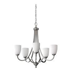 Feiss Perry 5 Lights Single Tier Chandelier, Brushed Steel, Clear Silver