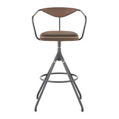 39.3-inch Tall Bar Stool Jin Green Leather Seat Black Cast Iron Swivel Base
