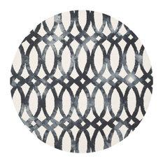 Safavieh Dip Dye Collection DDY675 Rug, Ivory/Graphite, 7' Round