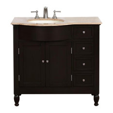 "38"" Modern Single Sink Bathroom Vanity, (Left) Travertine Top"