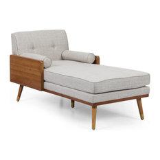 Miles Fabric Chaise Lounge, Beige and Dark Walnut