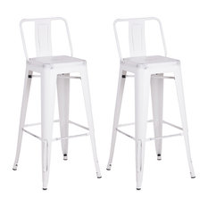 """Metal Bar Stools With Back, Set of 2, Distressed White, 30"""""""
