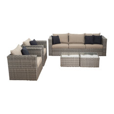 Mustang 5-Piece Distressed Grey Wicker Patio Conversation Set, Brown Cushions
