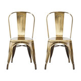 Industrial Style Metal Café Chair, Brass Gold, Set of 2
