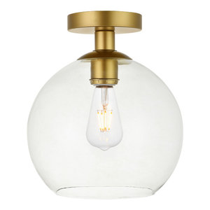 1-Light Flush Mount With Clear Glass, Brass