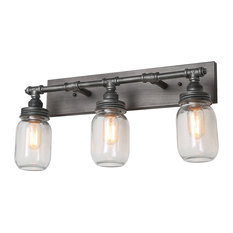 Industrial 3-Light Mason Jar Wall Sconce, Silver Plating with Black Finish