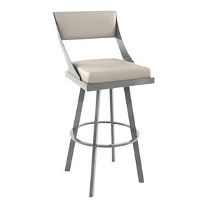 Swivel Stool, Magnetite Metal Frame - Oyster Seat, Counter