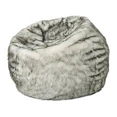 GDF Studio Laraine Furry Glam White and Gray Streak Faux Fur 3' Bean Bag