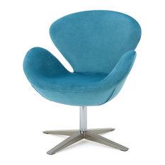 GDF Studio Manhattan 70's Retro Plush New Velvet Swivel Chair, Blue