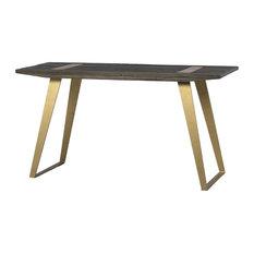 "55"" Clizia Desk Reclaimed Dark Elm Wood Top Natural Metal Base In Antique Brass"