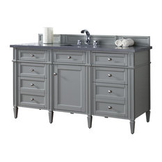 "Brittany 60"" Urban Gray Single Vanity, Shadow Gray Quartz Top"