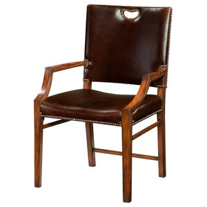 Leather Upholstered Campaign Armchair