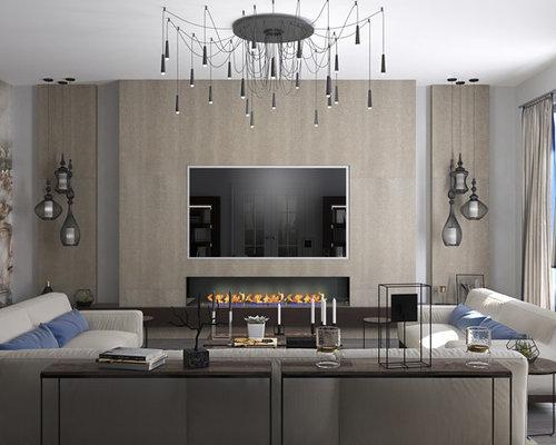 am nagement et d coration d 39 un grand salon moderne. Black Bedroom Furniture Sets. Home Design Ideas