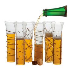 Razzle Dazzle Assorted Stemless Flutes, 6-Piece Set, Gold