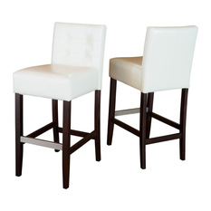 GDFStudio Gregory Leather Bar Stools With Backs Set of 2 Ivory Bar