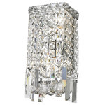 "Starry Sky Trading Inc - 2 Lights Chrome Finish 6'' Clear Crystal Wall Sconce Light - Dimensions: D6"" x H13"" / D16cm x H33cm  (Diameter x Height)"