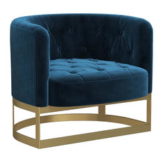 MOD - Pacey Navy Tufted Velvet Accent Chair - Armchairs and Accent Chairs