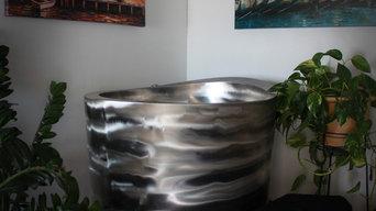 Stainless Steel Elliptical Japanese Deep Soaking Tub