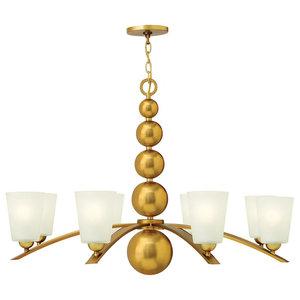 Zelda Modern 8-Light Chandelier, Vintage Brass