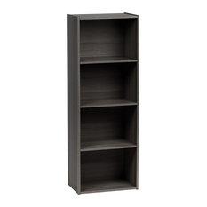 Contemporary Extra Tall Bookcase, Chipboard, 4 Open Shelves, Gray