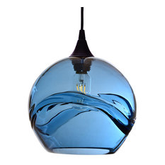 Swell Pendant Form No. 768, Blue Glass Shade, Black Hardware, 8 Watt