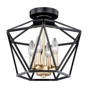 Turin 14.5-in W Bronze Gold Geometric Cage Candle Semi Flush Mount Ceiling Light