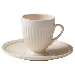 Shatterproof Coffee Cups With Saucers, Set of 2, Cream