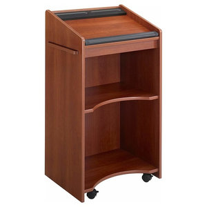 Contemporary Lectern, MDF With Cherry Effect and Cushioned Wrist Support