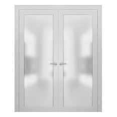 French Double Doors 60 x 80 Frosted Glass | Planum 2102 White Silk