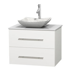 "30"" Single Bathroom Vanity in White, White Man-Made Stone Countertop and Sink"