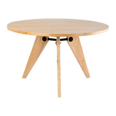 Natural Wood Round Dining Table