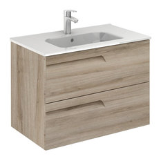 Vitale 32 Inches Wall Mounted Modern Bathroom Vanity 2 Drawer Natural With Basin